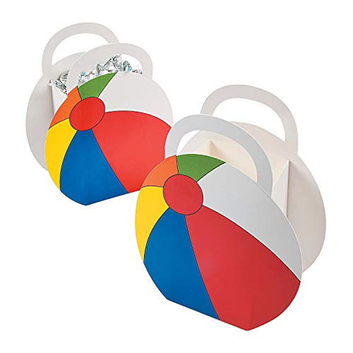Fun Express Beach Ball Party Favor Treat Boxes - 12 pc,Red, Blue, Yellow, Green, White