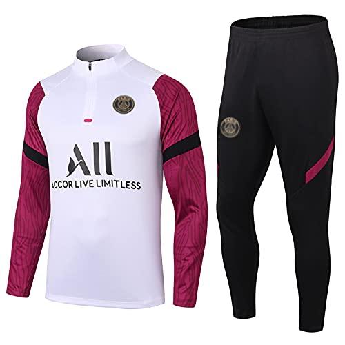 WZH-ZQQY Traje De Entrenamiento De Fútbol del Club De Campeonato Europeo (Chaqueta + Pantalones) -kpl-c1479(Size:S,Color:Blanco)