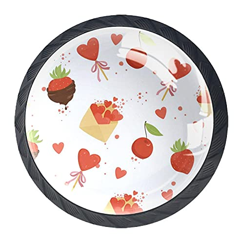 Fresa Chocolate Amor Corazón Cereza, Perilla de Gabinete de Gabinete de Cajón Premium Hardware Paquete de 4 para Oficina Hogar Cocina Gabinete de Baño
