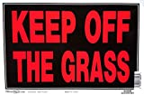 Hillman 839948 Keep Off The Grass Sign, Black and Red Plastic, 8x12 Inches 1-Sign