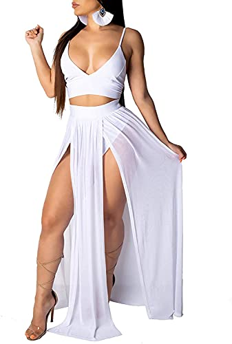 Falda Larga para Mujer Verano Pareo Boho Split Color Sólido Fiesta Skirts Vestido de Playa Casual Bikini Bañador