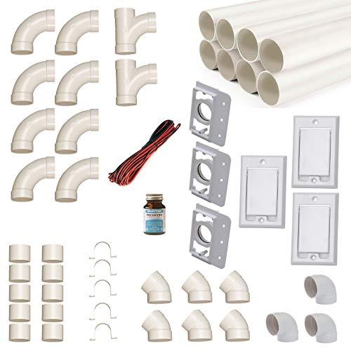 Zentralstaubsauger Einbau-Set für 3 Saugdosen mit Rohren, Fittings und Co. - DIY-Montageset für Staubsaugeranlage - Saugdose Nordamerika (Hayden) rechteckig