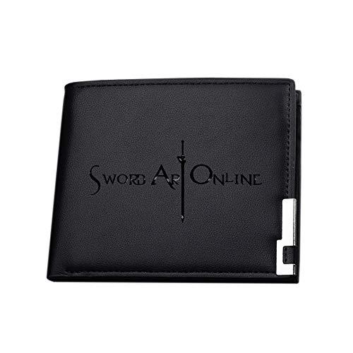 Sword art online Portafogli durevole borsa del portafoglio Bi-Fold Gents Portafogli borsa della moneta di carta di credito della borsa del supporto unisex (Color : Black25, Size : 12 X 10 X 1.5cm)
