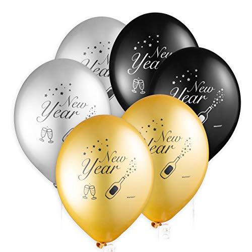 feiermeier Latexballon New Year ca.33cmØ/6St. Silber Gold schwarz zum Neujahr, Happy New Year, 2021, Sylvester Ballons