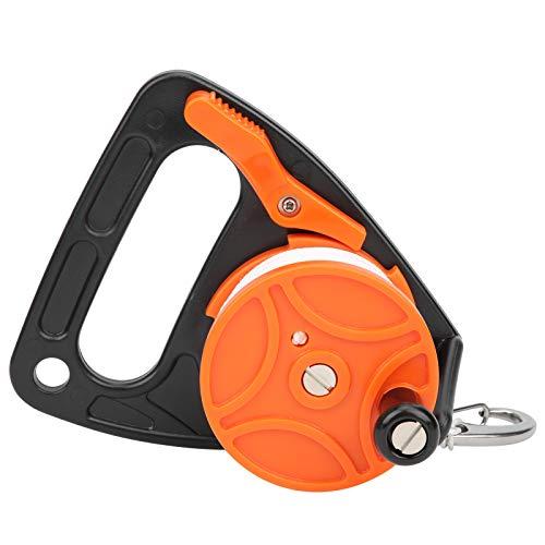 Carrete de Carrete de Buceo, Carrete de línea de Buceo de 150 pies Equipo de Buceo con posición de Tarjeta de Mango Combinación de Cuerda de PP(Naranja)