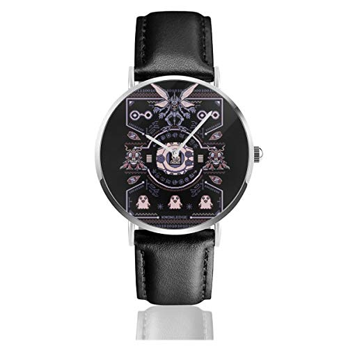 Unisex Business Casual Christmas Dig-imon Tentomon Digivolve Knowledge 8 Bit Knit Pattern Watches Quartz Leather Watch with Black Leather Band for Men Women Young Collection Gift