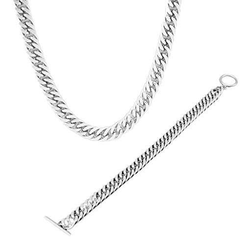 Qiman 1 pulsera de cadena de acero inoxidable plateada para mujeres y hombres, collar hip-hop, accesorios de bisutería para regalos