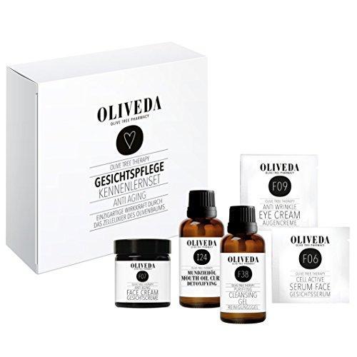 Oliveda Gesichtspflege Kennenlern-Set - mit Gesichtsserum, Gesichtscreme, Augencreme, Reinigungsgel und Mundziehöl