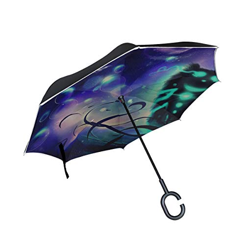 Inverted Umbrella Rain Sun Car Reversible Cheshire Cat Cat Art Large Double Layer Outdoor Upside Down Umbrella with Women with Uv Protection C-Shaped Handle
