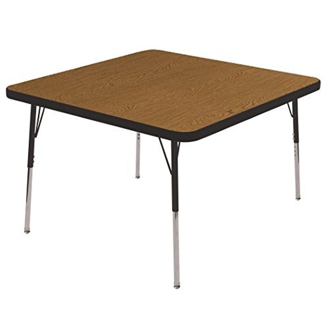 パッドベイビー黒ECR4Kids 30 Square Activity Table Oak Top/Black Edge Standard Legs/Swivel Glides Four 18 Navy School Stack Chairs [並行輸入品]