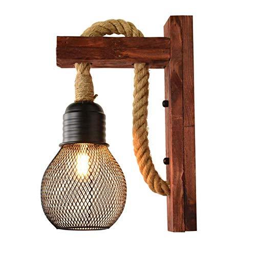 Lámparas de Pared,Lámparas de pared industriales retro LED E27 Aplique de pared de madera para mesita de noche, lámpara de pared de cuerda de cáñamo LOFT vintage para sala de estar/pasillo/dor