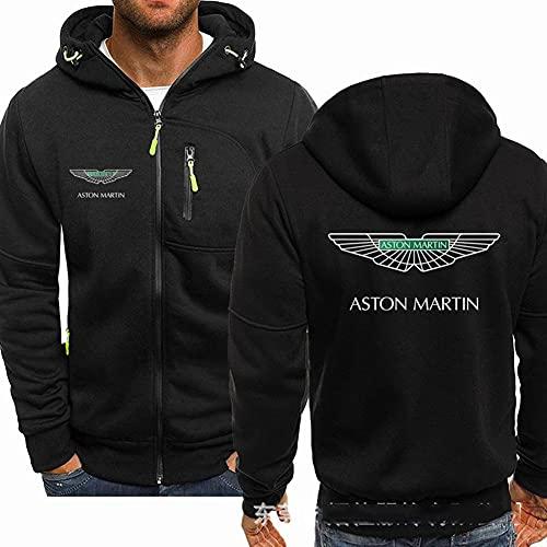 CYFCXK Suéter De Los Hombres Abrigo Cremallera Completa Encapuchado Aston Martin Imprimir Chaqueta Unisex, Adecuado para otoño Invierno