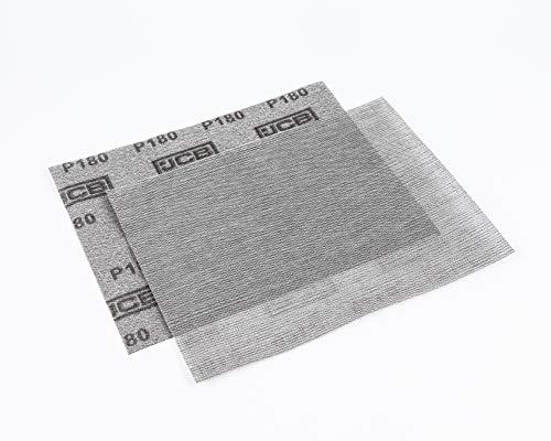 JCB - Hoja de lija de malla de grano 180 - Parte trasera de gancho y bucle - 280 x 230 mm - Paquete de 2