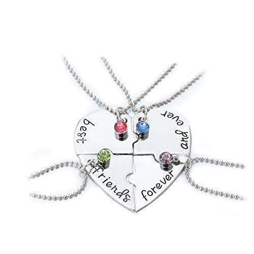 Freundschaftsketten Halskette-Anhänger Best Friends Forever Herz Puzzle Halskette Set für Tochter Freundinnen (4 Stk/Set)