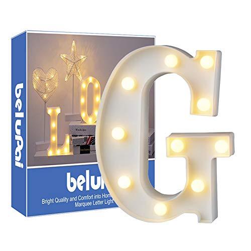 Luci LED decorative a forma di lettere dell'alfabeto, colore bianco, alimentate a batteria, per decorazione di casa, matrimoni, feste, reception, bar (lettera G)