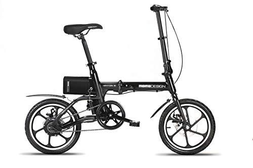 Momo Design New-York 16, Bicicletta Elettrica Pieghevole, 16'', Velocità 25km/h, Autonomia 35km, Unisex – Adulto, Nero