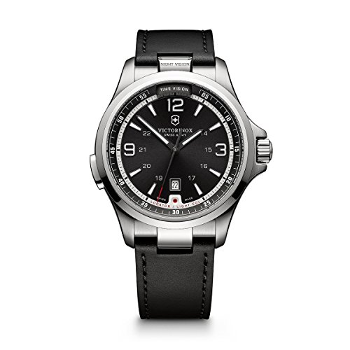 Victorinox Men's Night Vision Titanium Swiss-Quartz Watch with Rubber Strap, Black, 21 (Model:...