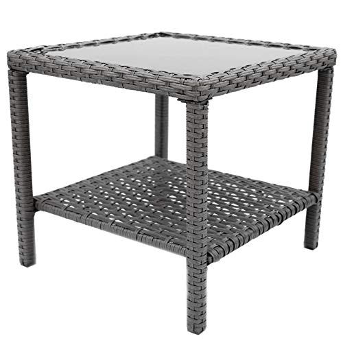 C-Hopetree Small Outdoor Coffee Side Table for Outside Patio, Grey All Weather Wicker with Glass Top, Square