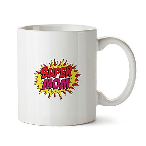 Super Mom Taza de cerámica blanca de 325 ml