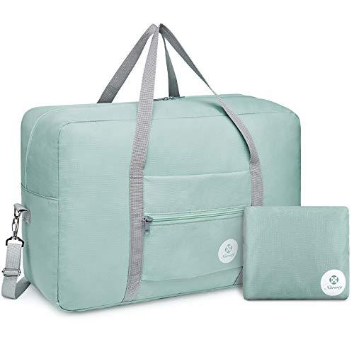 Bolsa de viaje plegable bolsa de transporte bolsa de equipaje equipaje de fin de semana durante la noche deportiva para niños niñas y mujeres (verde menta (grande con correa para el hombro))