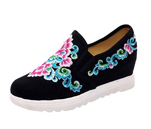 Icegrey dames handgemaakt geborduurd borduurwerk bloemen wedge schoenen sneakers
