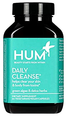 HUM Daily Cleanse Skin Supplement - Clear Skin & Body Detox with Organic Algae, 14 Herbs, Vitamins & Minerals to Help Filter Toxins - Supports Digestive Health and Liver Detox (60 Vegan Capsules)