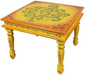 Marokkanischer Wohnzimmertisch Couchtisch aus Holz Budhana 60cm | Vintage Tisch aus Holz mit Bemalung verziert für Ihre Wohnzimmer | Niedriger Orientalischer Sofatisch Holztisch Bunt