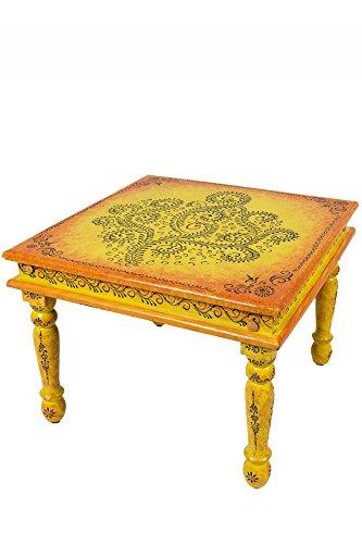 Marokkanischer Wohnzimmertisch Couchtisch aus Holz Budhana 60cm   Vintage Tisch aus Holz mit Bemalung verziert für Ihre Wohnzimmer   Niedriger Orientalischer Sofatisch Holztisch Bunt