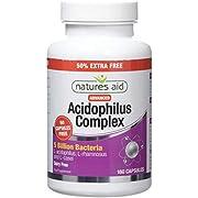Natures Aid Acidophilus Complex, 5 Billion Bacteria, 180 Capsules (Lactobacillus Acidophilus, Lactobacillus Rhamnosus, Lactobacillus Casei, Good Bacteria, Shelf Stable, Vegan Society Approved)