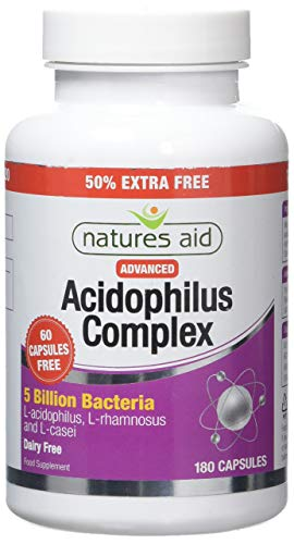 Natures Aid Acidophilus Complex, 5 Billion Bacteria, 180 Capsules (Lactobacillus Acidophilus, Lactobacillus Rhamnosus, Lactobacillus Casei, Good Bacteria, Shelf Stable, Vegan Society Approved)