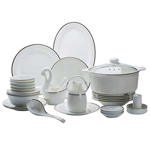 HZR 58 Pieces Ceramics Dinner Sets,Bowl/Dish/Soup Pot/Spoon|Dinnerware Set Emboss Silver Edge Pattern Combination Tableware Set-for Gift Giving Banquet
