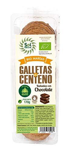 SOLNATURAL Galleta Centeno BAðADA Chocolate Bio 170 g, Estándar, Único