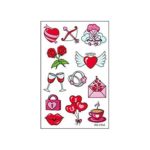Janly Clearance Sale Wall Sticker, Crystal Love Tattoo Sticker Couple Confession Proposal Face Arm Tattoo Sticker, for Christmas Home & Garden Decorate, (A)