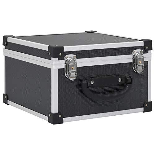 vidaXL Maletín Aluminio y ABS Archivador Organizador Música Estructura Duradera Robusta Resistente Segura con Cerradura Llaves Negro para 40 CDs