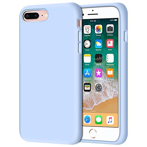 Anuck Case for iPhone 8 Plus Case, for iPhone 7 Plus Case 5.5 inch, Soft Silicone Gel Rubber Bumper Case Microfiber Lining Hard Shell Shockproof Full-Body Protective Case Cover - Light Blue