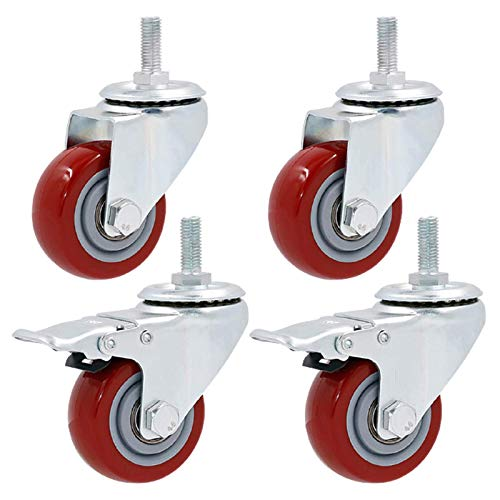 Lenkrollen Hochleistungs-Polyurethan-Rolle 360-Grad-Schwenkwagenmöbel Rollen-Rollen, Ersatzrad, Doppellager, Gewindeschaft M12x30mm, 4er-Pack, rot, Elektroroller-Reifen