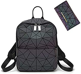 HotOne Geometric Backpack Holographic Reflective Backpacks Fashion Backpack (Zipper Backpack + Irregular Flap Wallet)