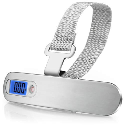 Kuizhiren1 Mini-Digitalwaage, 50 kg/10 g, tragbar, Mini-Elektronik-Digital-LCD, Reisegepäck, Hakenwaage, Weiß