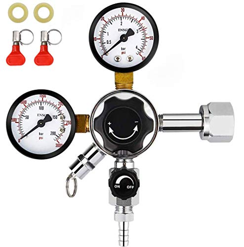 FERRODAY Dual Gauge CO2 Draft Beer Regulator Dual Stage Pressure Regulator CGA-320 CO2 Tank Beer Kegerator Regulator with Relief Valve Beer Keg Pressure Regulator for Homebrew 0-60 PSI 0-3000PSI