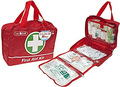 GLOW Deluxe 70pc First Aid Kit – Complete Medical Emergency 1st Response Essentials Pack for Home Office School Car Travel Camping Work – Premium Set with Compact Red Organiser Storage Carry Bag from GLOW Wholesale