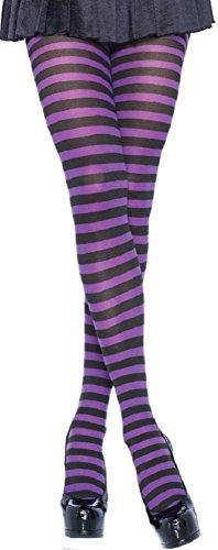 Leg Avenue Damen plus size Strumpfhose quer geringelt schwarz lila Einheitsgröße ca. 42 bis 44