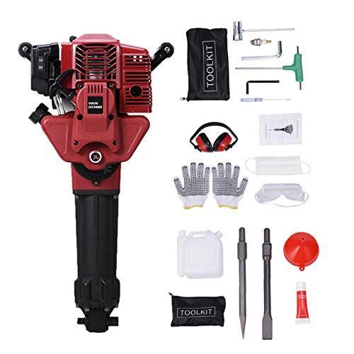 BEAMNOVA Demolition Hammer Gas Powered Demolition Drill Jack Hammer Hand-held Rock Drill with Point and Flat Chisel, Punch Single Cylinder, Gloves, Air Cooling