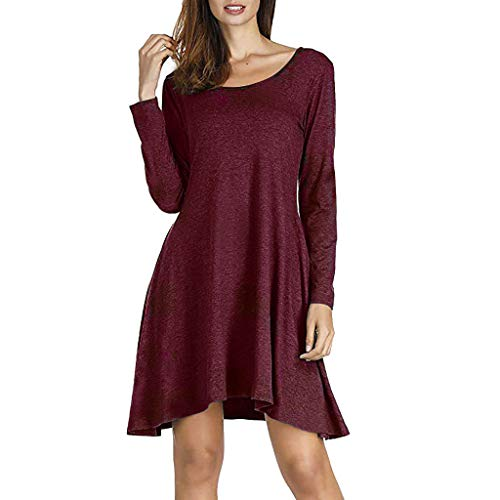JUTOO 2018 Ropa de Mujer Women Casual Solid Loose Long Sleeve Pockets Swing Mini Dress