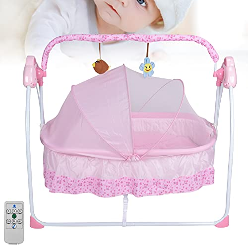 Cuna De Bebé Eléctrica Portátil Con Mosquitera Con Función De Sincronización Bluetooth Para Bebés De 0 A 18 Meses(rosado)