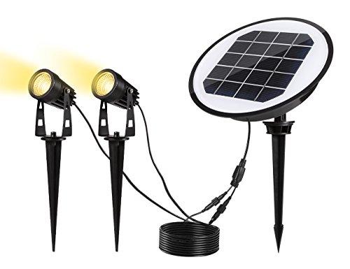 Solar Gartenleuchte, ECOWHO Gartenbeleuchtung, Wasserdicht IP65 LED Gartenstrahler mit Erdspieß, 3000K Warmweiß, 2 * 2W, 320Lumen, Garten Scheinwerfer, Spotbeleuchtung, Wegeleuchte für Außenbereich