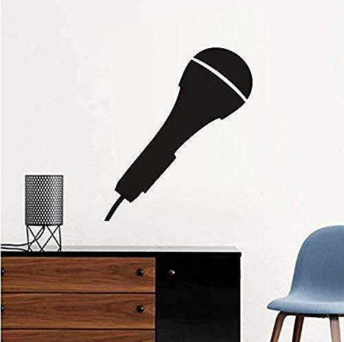 Zelfklevende muurstickers zwart afdrukken grote microfoon muurstickers kinderen S kamer afneembare Vinyl kleuterschool behang zelfklevende huisdecoratie Art 37X44Cm