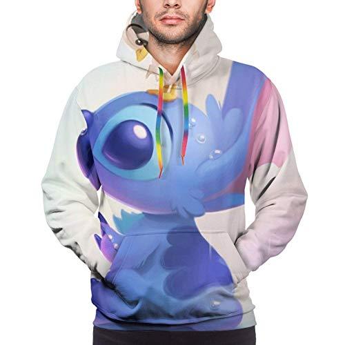 Cartoon Stitch Lilo Herren Hoodie mit Fronttasche Sweatshirts 3D Print Kordelzug Pullover S-XXXL