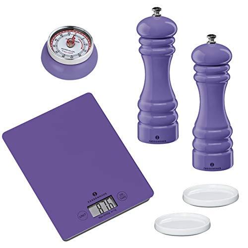Zassenhaus Set Pastell Ultra violett - Salzmühle Pfeffermühle Untersetzer Küchentimer Digital-Waage