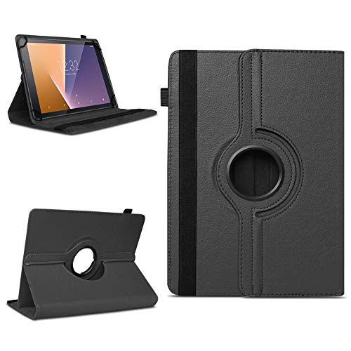 NAUC Tablet Schutzhülle Vodafone Tab Prime 6/7 360° drehbar Tasche Cover Hülle Etui, Farben:Schwarz