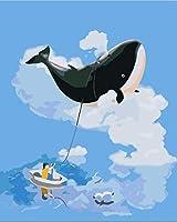 子供のデジタル化によるDiyペイント、大人はブラシを使用してペイントし、ウォールアートはアクリルペイントを使用して白い雲と大きなクジラを飾ります